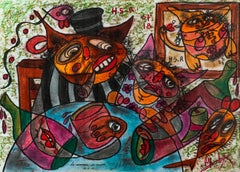 Marriage of Reason - Painting Pastel on Paper Black White Brown Red Pink Blue