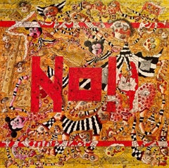 No! Large Abstract Painting Yellow Beige Red Black White Brown