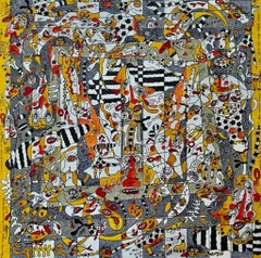 Nous sommes cons-cerné - Large Abstract Painting Yellow Black White Brown Grey