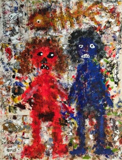 Tasks an Us- Painting Acrylic on Marouflaged Tissue Black White Red Blue