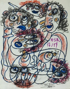 That was Life - Painting Pastel on Paper Black White Brown Red Pink Blue