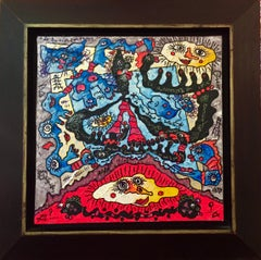 The Sun Merchant - Acrylic Painting Colors Black Red Blue Purple White Yellow