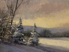 Across a Frozen Lake (winter, landscape, snow, trees)