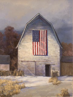 With Hope in a New Year (American flag, weathered hay barn, moody sky)
