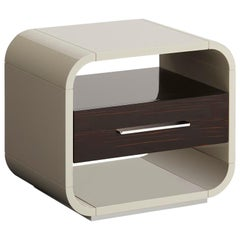 Simone Nightstand with Ebony Makassar Drawer and Glossy Lacquered Structure