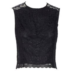 SIMONE ROCHA black floral embroidered mesh scalloped hem sheer back crop top S