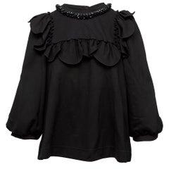 Simone Rocha Black Long Sleeve Ruffle Beaded Blouse