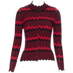 SIMONE ROCHA black red wavy stripe viscose knit button front cardigan sweater XS