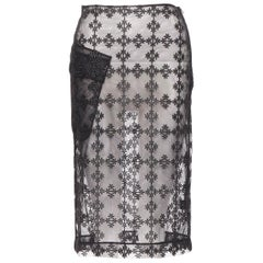 SIMONE ROCHA black sheer mesh floral embroidery patch pocket pencil skirt XS
