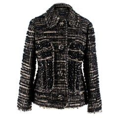 Simone Rocha Crystal-Embellished Metallic Tweed Jacket - Size US6