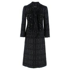 Simone Rocha Crystal-Embroidered Black Tweed Coat & Skirt - Size US 0-2