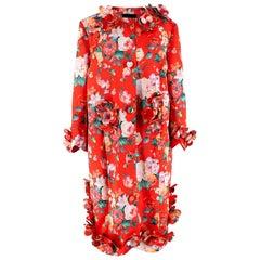 Simone Rocha Floral-appliquéd Printed Satin Coat - Size US 8