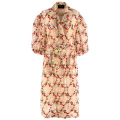 Simone Rocha Floral-embroidered single-breasted tulle coat - Size US 10