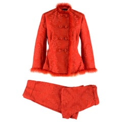 Simone Rocha Marabou-Trimmed Satin-Jacquard Jacket & Trousers SIZE UK 10