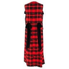 Simone Rocha Red Tartan Georgette Ribbon Detail Dress - Size US 8