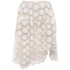 Simone Rocha White Floral Crochet Mesh Overlay Skirt - S