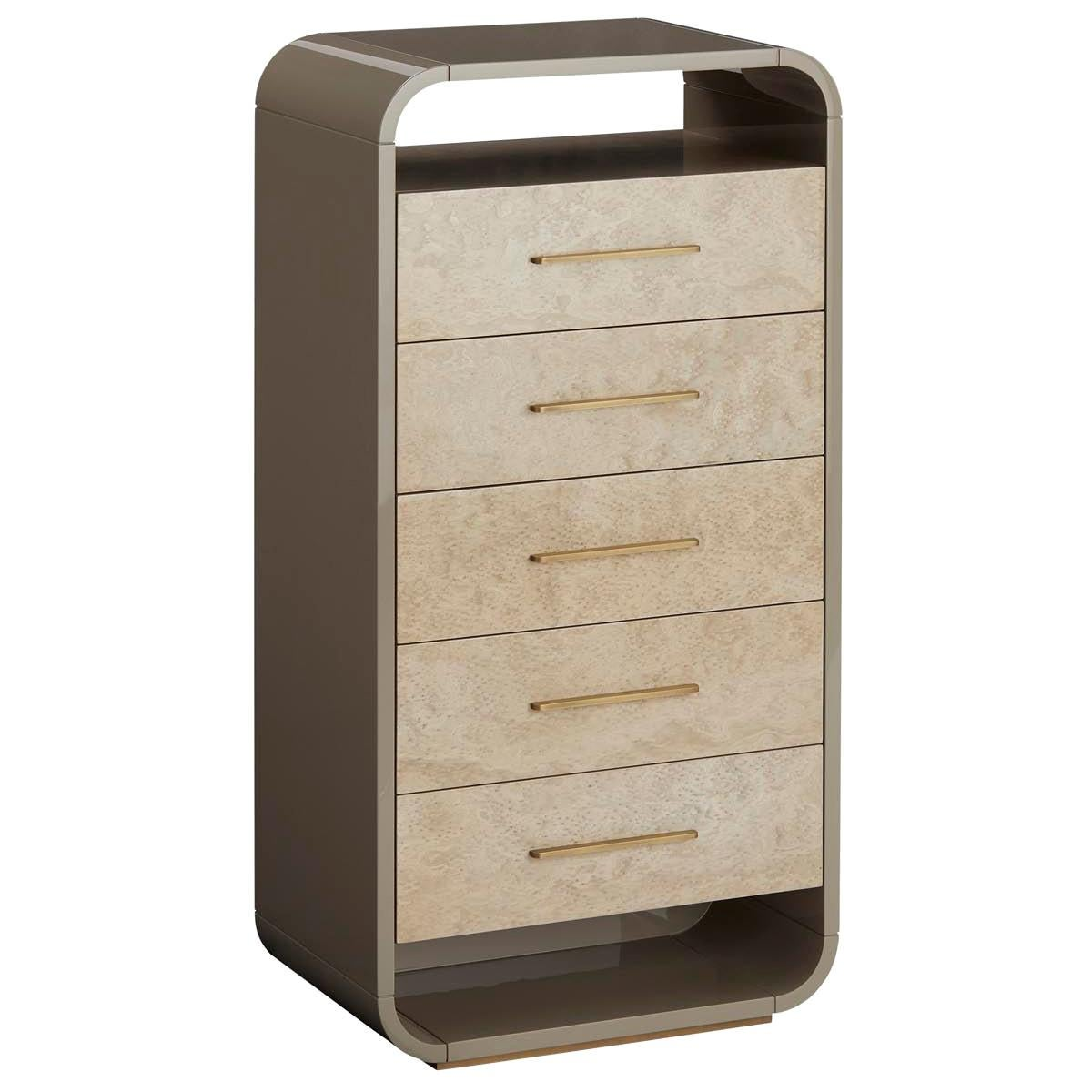 Simone Tallboy with Glossy Partridge Eye on Drawers and Antique Brass Handles