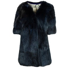 Simonetta Ravizza Blue Fox Fur Coat with Three-Quarter Sleeves sz 4