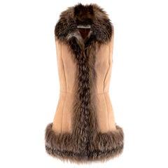 Simonetta Ravizza Cream Suede Vest with Fox Fur Trim - Size Small