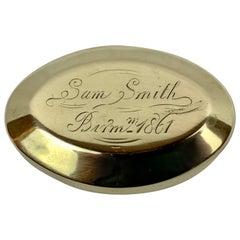 "Simple 19th Century Oval Brass Snuff Box ""Sam Smith"", 1861"