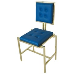 Simple Blue Chair in Brass and Leather, Made in Italy