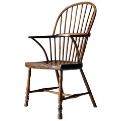 Simple Burr Elm Country Windsor Chair, Early 19th Century, Rustic, English