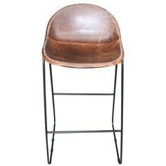 Simple but Elegant Hand Stitched Leather and Solid Steel Bar Chair