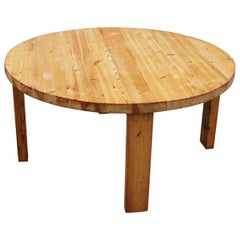 Simple Crafted Pine Table, 1970s
