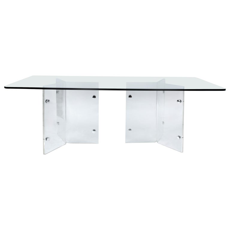 Simple Elegant Acrylic Lucite Base Glass Top Dining Table or Writing Desk