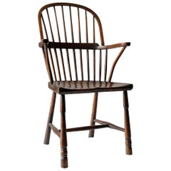 Simple English Country Windsor Chair, Rustic, 19th Century, Elm, Ash