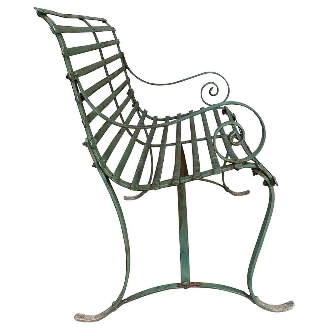 Simple, Late 19th Century, Slat Design Iron Garden Bench