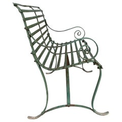 Simple, Late 19th Century, Slat Design Iron Garden Bench
