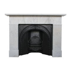 Simple Mid-19th Century Victorian Carrara Marble Fireplace Surround