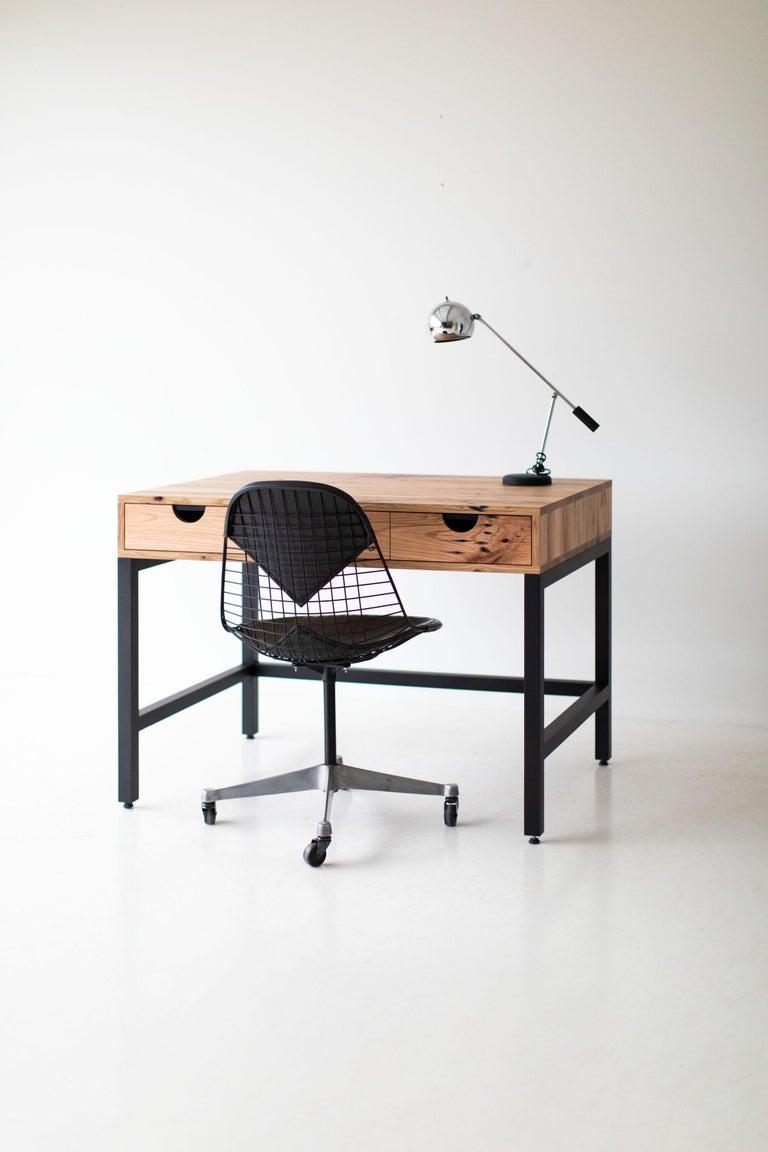 Simple Modern Desk, Reclaimed Oak and Walnut For Sale 3