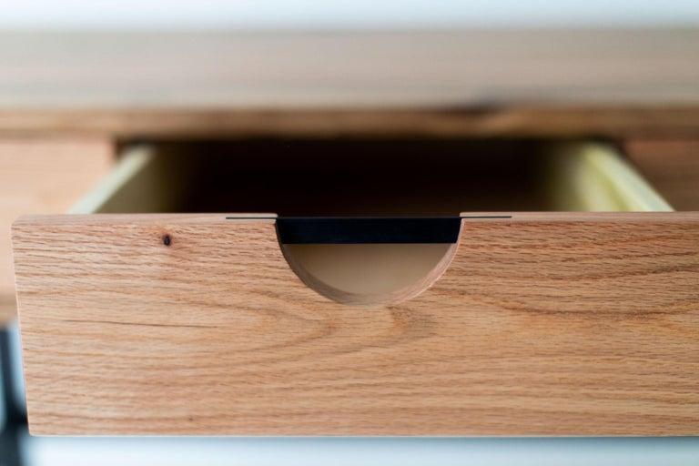 Simple Modern Desk, Reclaimed Oak and Walnut For Sale 4