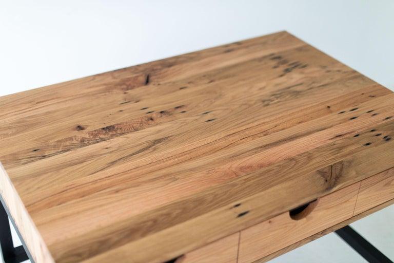 Simple Modern Desk, Reclaimed Oak and Walnut For Sale 5