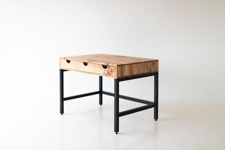 Simple Modern Desk, Reclaimed Oak and Walnut For Sale 6