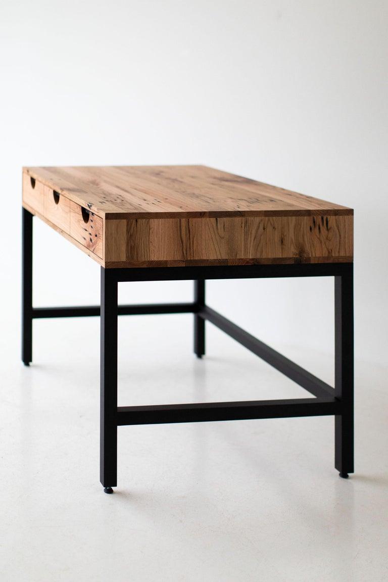 Simple Modern Desk, Reclaimed Oak and Walnut For Sale 7