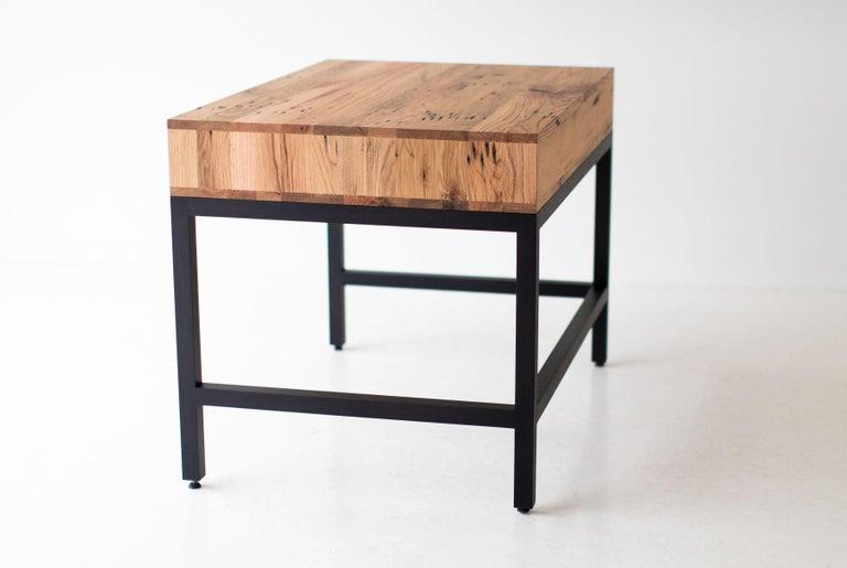 Simple Modern Desk, Reclaimed Oak and Walnut For Sale 9