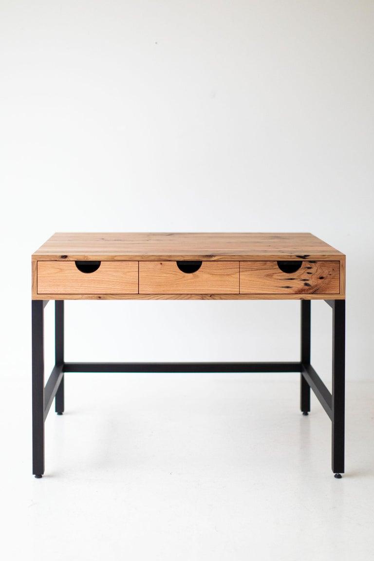 Simple Modern Desk, Reclaimed Oak and Walnut For Sale 10
