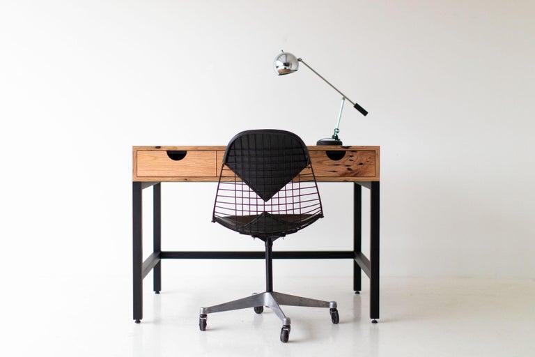 Mid-Century Modern Simple Modern Desk, Reclaimed Oak and Walnut For Sale