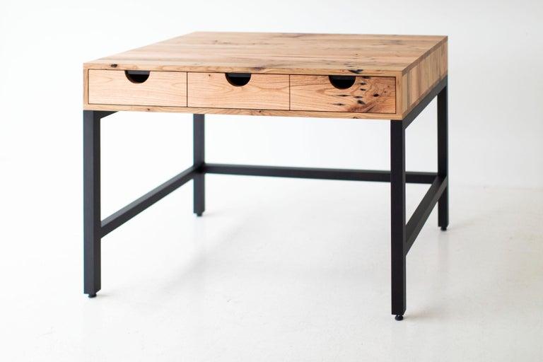 North American Simple Modern Desk, Reclaimed Oak and Walnut For Sale