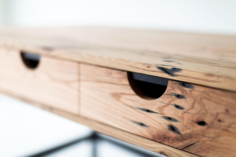 Contemporary Simple Modern Desk, Reclaimed Oak and Walnut For Sale