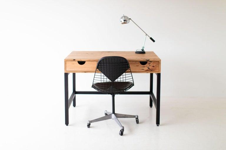 Reclaimed Wood Simple Modern Desk, Reclaimed Oak and Walnut For Sale
