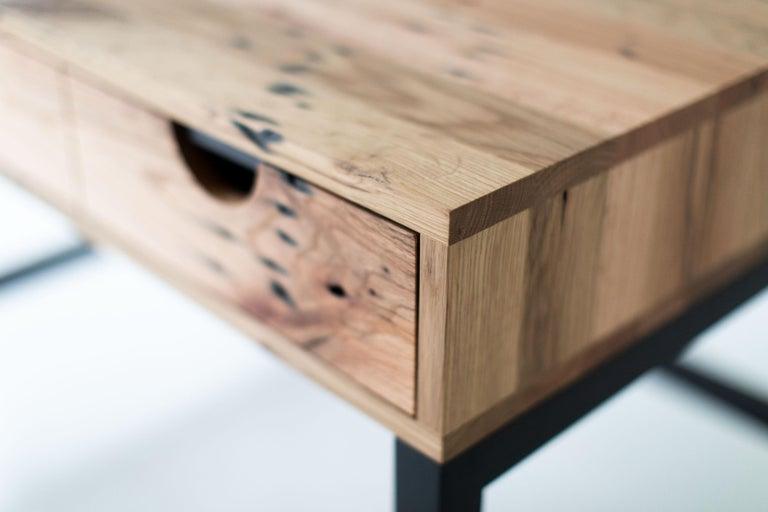 Simple Modern Desk, Reclaimed Oak and Walnut For Sale 1