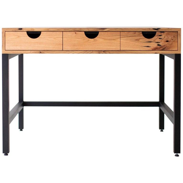 Simple Modern Desk, Reclaimed Oak and Walnut For Sale
