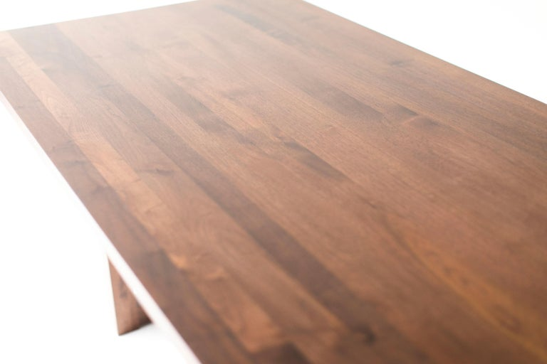 Simple Modern Dining Table, Walnut In New Condition For Sale In Oak Harbor, OH