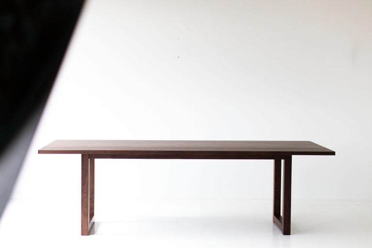 Contemporary Simple Modern Dining Table, Walnut For Sale