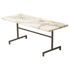 Simple Modernist Duplantier Style Marble & Brass End Table, France 1950's