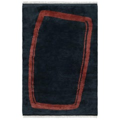 Simple Object 11 Dark Blue, Wool Shaggy Berber Rug in Scandinavian Design